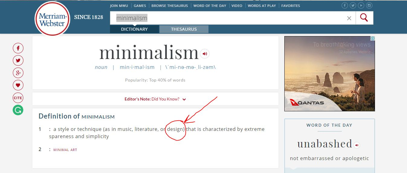 Definisi kata 'minimalism' menurut kamus Merriam-Websiter (Sumber: merriam-webster.com)