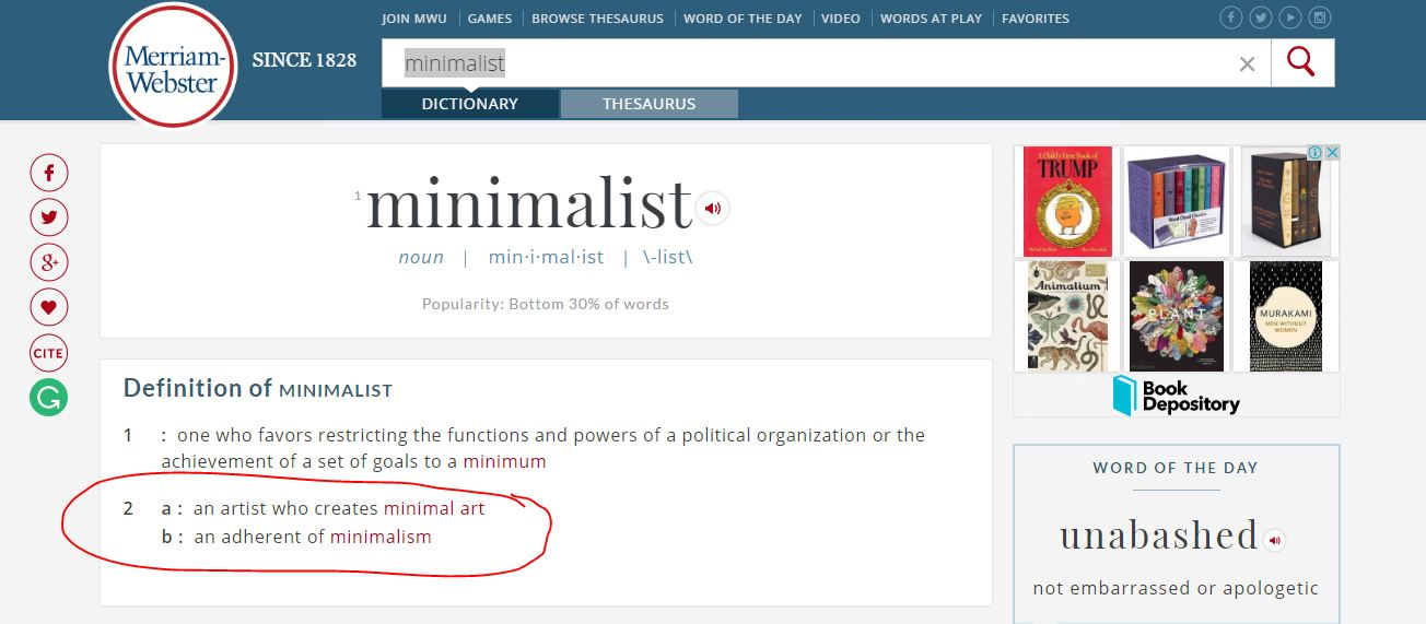 Definisi kata 'minimalist' menurut kamus Merriam-Websiter (Sumber: merriam-webster.com)