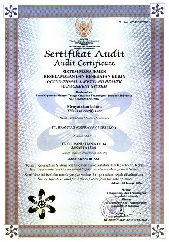 Contoh sertifikat audit (sumber : safety4abipraya.wordpress.com)