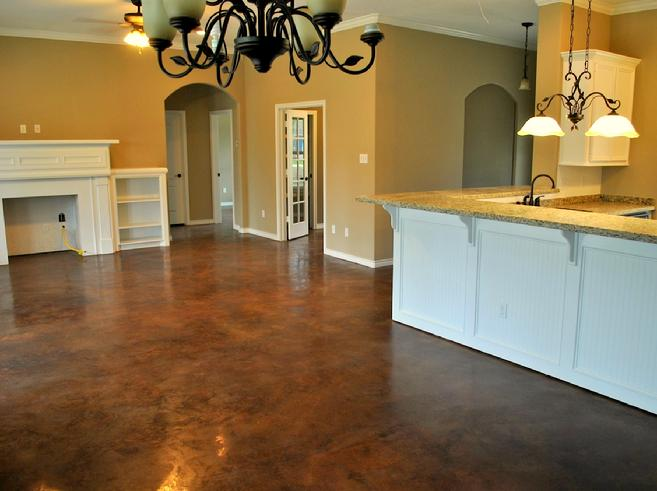 Lantai dapur dengan stained concrete (Sumber: stainedconcrete.org)